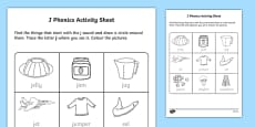 j Phonics Activity Sheet