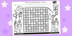 Australia - People Who Help Us Missing Numbers Number Square