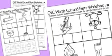 CVC Words Cut and Paste Activity Sheets o with British Sign Language