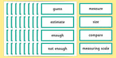 Year 2 Maths Vocabulary Word Cards Measures Shape and Space