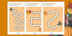 Thanksgiving Pencil Control Path Activity Sheet