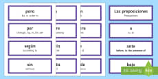 Preposition Word Cards Spanish/English