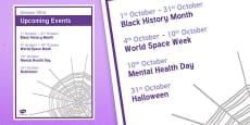 Elderly Care Calendar Planning October 2016 Overview
