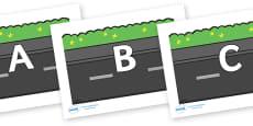 A-Z Alphabet on Roads (Plain)