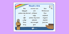 Noah's Ark Word Mat Images Welsh