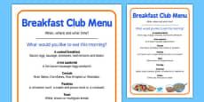 Elderly Care Hydration and Nutrition Week Breakfast Club Menu