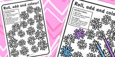 Flowers Roll and Dice Addition Game (3 Di)