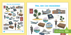 Holiday Travel Themed I Spy with My Little Eye Activity - Spanish