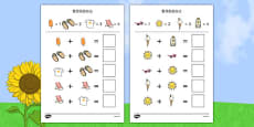 Summer Themed Addition with Pictures Activity Sheets Chinese Mandarin