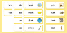 Word Final SC SK Word Cards