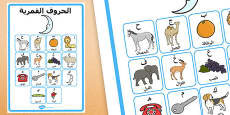 The Lunar Letters with Examples Display Poster Arabic