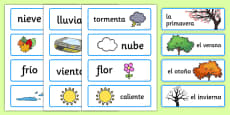Spanish Seasons Word Cards