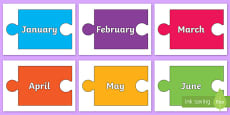 Months of the Year on Jigsaw Pieces