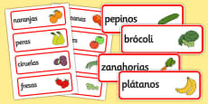 Spanish Fruit Vocabulary Cards