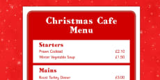 Christmas Cafe Role Play Menu