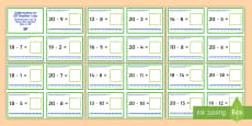 Subtraction Up to 20 with a Number Line Challenge Cards English/Italian