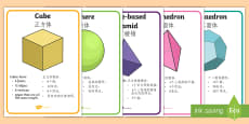 3D Shape Display Posters - English/Mandarin Chinese