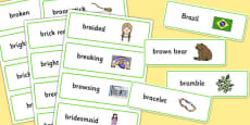 Two Syllable BR Word Cards