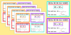 Add Two Two Digit Numbers Not Crossing 10 or 100 KS1 Maths Challenge Cards