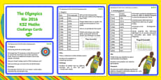 The Olympics Rio 2016 UKS2 Maths Challenge Cards Romanian Translation