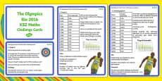 The Olympics Rio 2016 UKS2 Maths Challenge Cards Romanian Translation