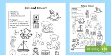 Toy Roll and Colour Activity Sheet