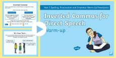 Year 3 Inverted Commas for Direct Speech Warm-Up PowerPoint