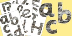 Bark Texture Display Letters and Numbers Pack