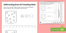 * NEW * Subtracting from 10 Counting Back Activity Sheets