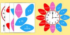 Analogue Clock Flower Labels Spanish