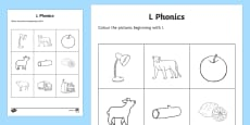 l Phonics Colouring Activity Sheet