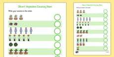 Oliver's Vegetables Counting Sheet