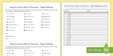 Using the Correct Order of Operations Speed Challenge Activity
