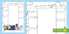End-of-Year Memories Activity Sheet