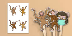 Five Little Monkeys Jumping on the Bed Stick Puppets