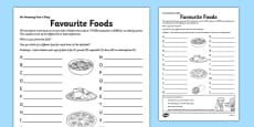 Favourite Foods Activity Sheet