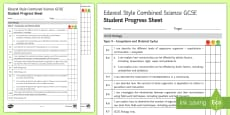 Edexcel Style Ecosystems and Material Cycles Student Progress Sheet