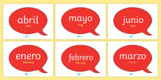 Months of the Year on Speech Bubbles (Spanish)