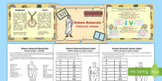 Roman Numerals Differentiated Lesson Teaching Pack Romanian Translation
