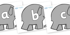 Phoneme Set on Grey Elephant to Support Teaching on Elmer