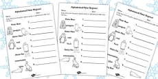 Polar Regions Alphabet Ordering Activity Sheet