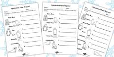 Polar Regions Alphabet Ordering Activity Sheet