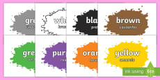 Colour Names on Splats English/Portuguese