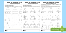 Adding and Subtracting Fractions Activity Sheet - English/Romanian