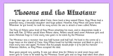 Theseus and the Minotaur Story Print Out