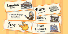 The Great Fire of London Word Cards Romanian Translation