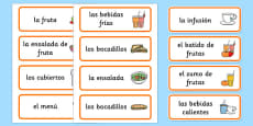 Healthy Eating Cafe Role Play Word Cards Spanish