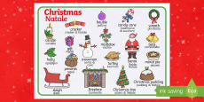 Christmas Word Mat Italian Translation