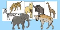 African Animals A4 Cut-Outs