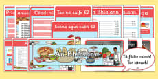 An Bhialann The Restaurant Role Play Resource Pack Irish Gaeilge